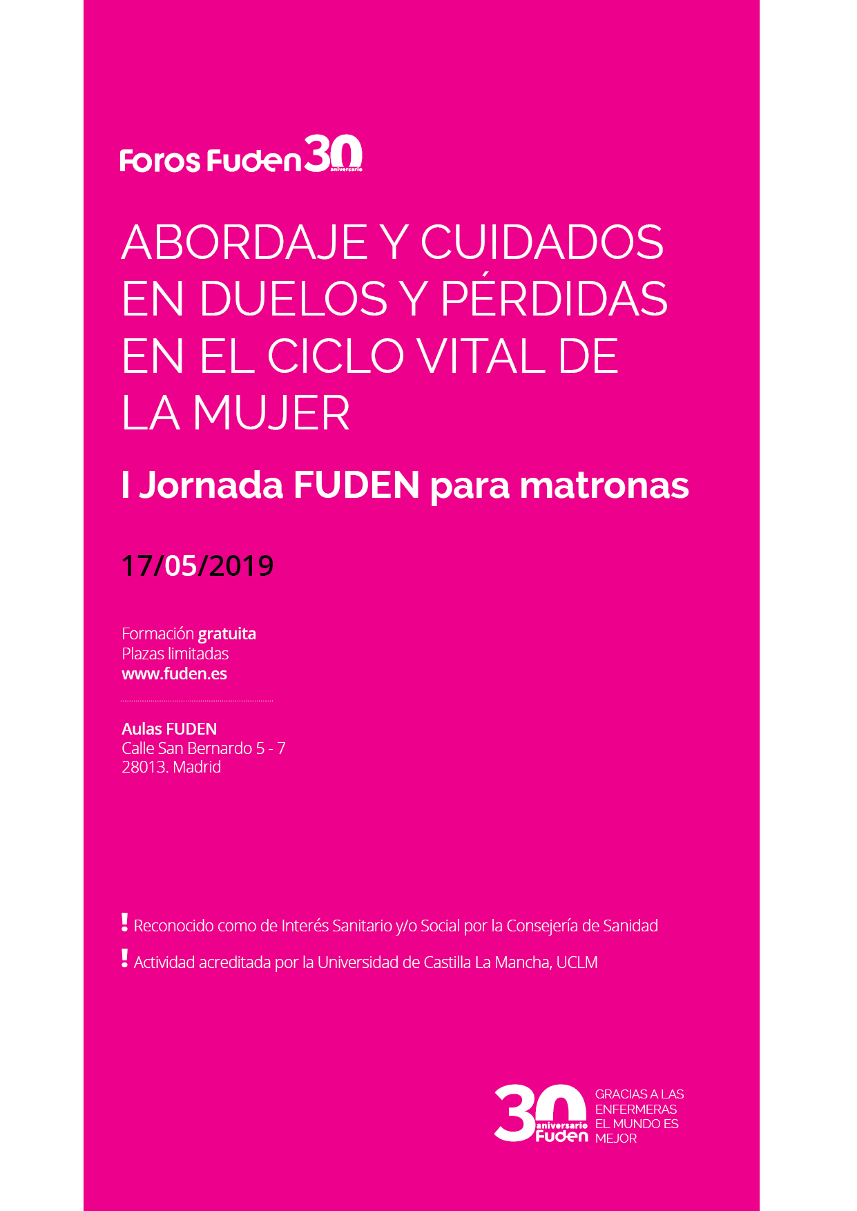 I Jornada FUDEN para matronas. Abordaje y cuidados en duelo y pérdidas en el ciclo vital de la mujer.