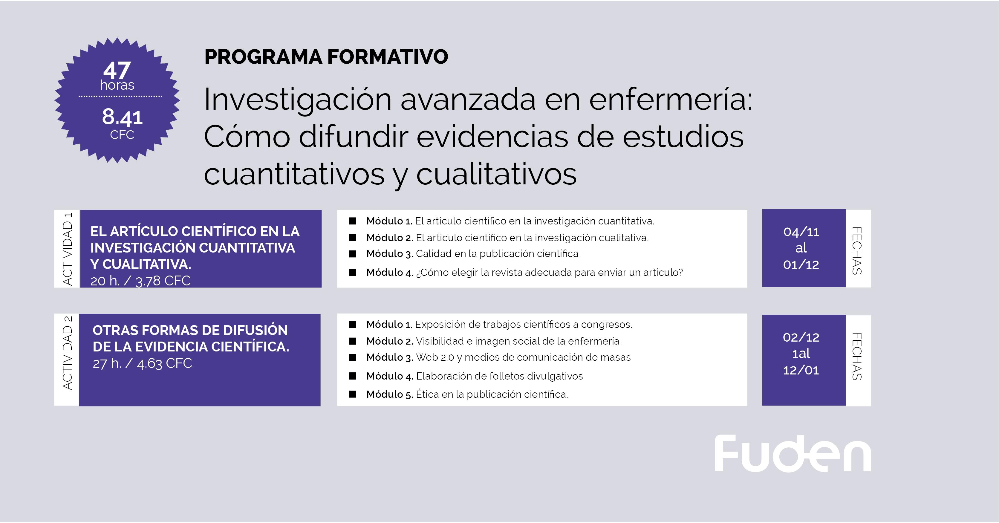 19/20 Programa ACSA: Investigación avanzada en enfermería: Cómo difundir evidencias de estudios cuantitativos y cualitativos.